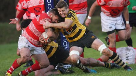 John Dibb halts a Thetford opponent in Ely Tigers 42-31 victory on Saturday. Photo: Steve Wells