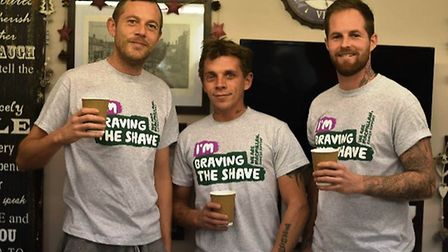 BEFORE: Rob Wilson, Adam Chapman and Michael Smith all decided to have their heads shaved as part of