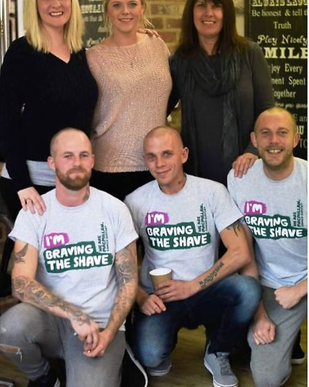 AFTER: Rob Wilson, Adam Chapman and Michael Smith all decided to have their heads shaved as part of