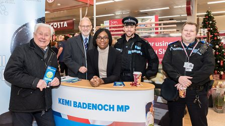 Report It! campaign launch at Kemi Badenoch's surgery at Dunmow Tesco. From left, Cllr Eric Hicks, C
