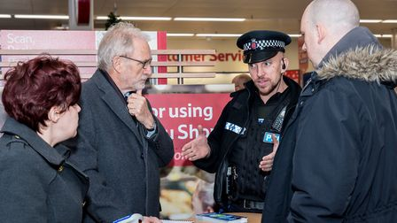 Pc James Draper at the launch of the Report It! campaign at Dunmow Tesco. Picture: SAFFRON PHOTO