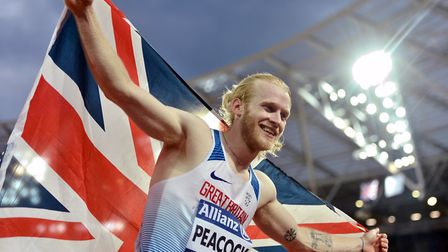 Great Britain's Jonnie Peacock celebrates winning gold in the Men's 100m T44 during day three of the