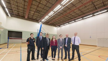 New energy efficient lighting in the Hudson Centre sports hall. Pictured, from left, are Jon Gipson,