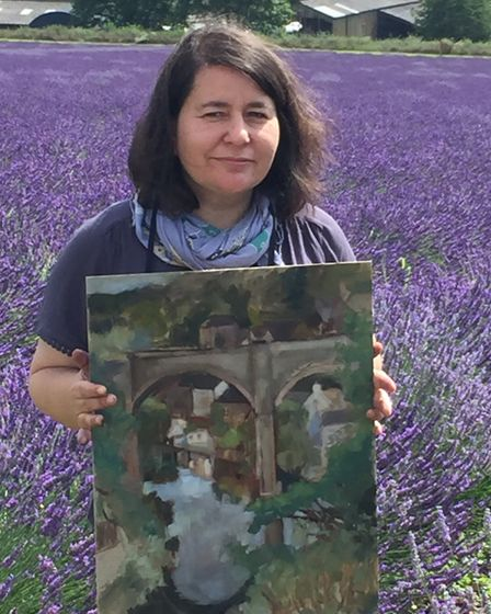 Isabel Frias de la Uz with her semi-final entry for Sky Arts' Landscape Artist of the Year competiti