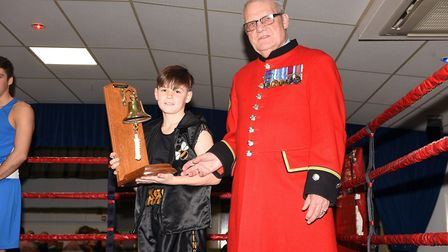 Fred Hawkins presents March ABC's fighter of the year to Mark Smith. Photo: Ian Carter