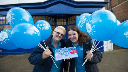 Anglian Water staff outside Newmarkets newly opened Smarter Drop Shop pop-up. The shop will be helpi
