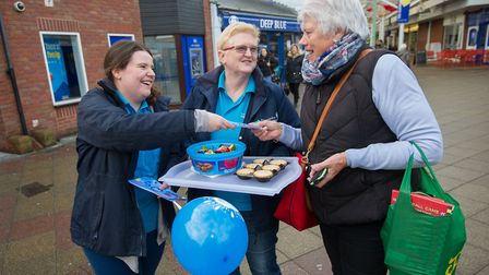 Anglian Water staff spread the news about the pop-up shop opening to Newmarket residents. Photograph