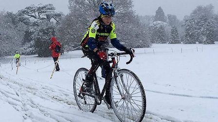 Ely & District Cycling Club's Isaac Barton in the snow at the latest instalment of the Eastern Cyclo