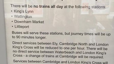 Bus replacements between Ely and King's Lynn for five days in February.