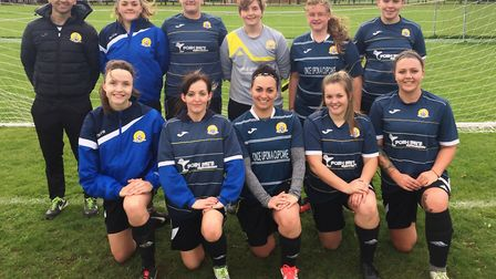 March Town Ladies pictured earlier this season. They are back row (left to right): Manager Gary Davi