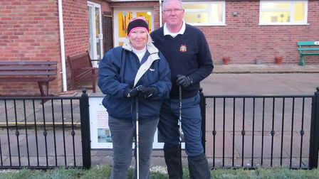 Captain Mick Russell and lady captain Lydia Molyneux at the annual March Golf Club captain's drive i