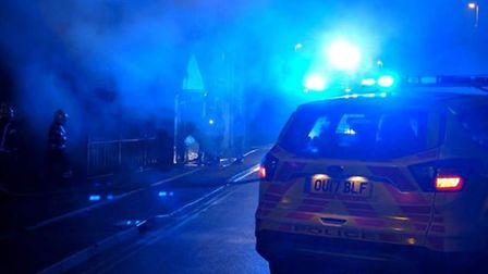 In the early hours of today officers on patrol came across a building fire at a hair salon in March.