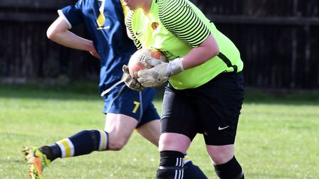 March Town goalkeeper Dave Beeny conceded a controversial late penalty. PHOTO: Ian Carter
