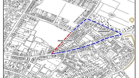 Marked in red the road will be closed - blue shows the diversion