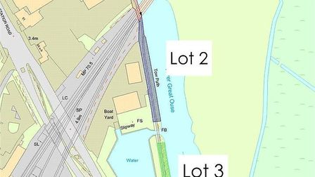 The three riverside plots that were offered for sale for £75,000. Now been bought by East Cambs Coun