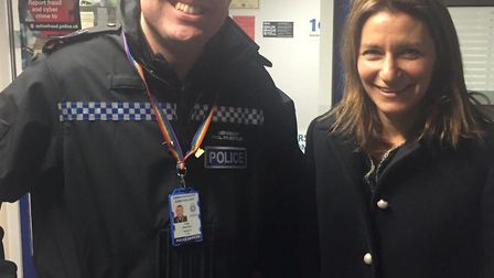 MP Lucy Frazer with sergeant Phil Priestley at Ely police station.