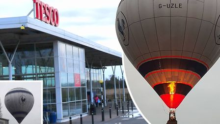 Police rescue pilot from 'bumpy landing' after hot air balloon floats over Tesco car park in Hostmoo