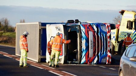 Storm wakes Fenland residents: A lorry has tipped over on the A47 (Wisbech to Guyhirn) Photo: Ian Ca