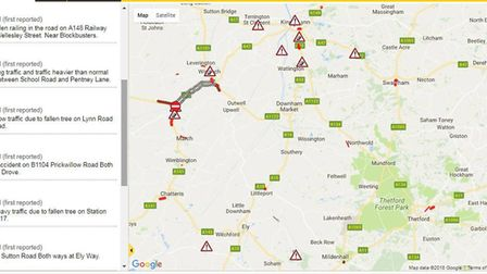 Storm wakes Fenland residents: A series of incident reports from around Fenland. Photo: AA Traffic N