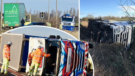 Three lorries have overturned today (January 18) following heavy winds caused by Storm Fionn.