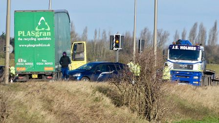 Three lorries have overturned today (January 18) following heavy winds caused by Storm Fionn. Photo: