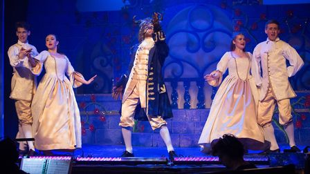 The cast of KD Theatre Productions' Beauty and the Beast, which is being performed at The Maltings i