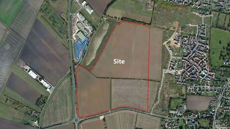 Aerial view of the site at Littleport where up to 700 homes could be built. East Cambs Council offic