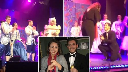 Bethany Pearson says 'yes' after surprise proposal on pantomime stage in Ely. Photo: Lisa Pearson