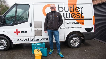 Tobias West of Butler & West electricians, in Dunmow, with his returned tools. Picture: JORDAN BRIGH