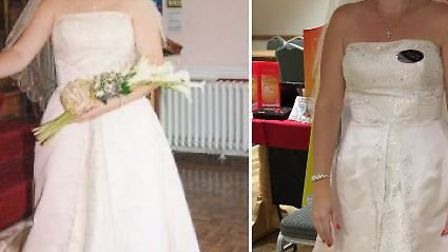 Whittlesey mum of four Charlene Knowles on her wedding day in 2003 and, having lost four stone, pict