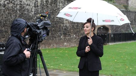 Kath Sansom being interviewed by Sky News at Parliament Green. Sling The Mesh. PHOTO: Harry Rutter