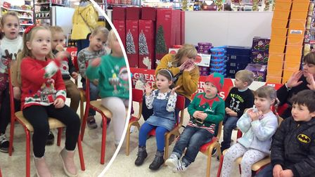 Children from the Maple Grove Community Group have raised around 150 singing in Sainsbury's.