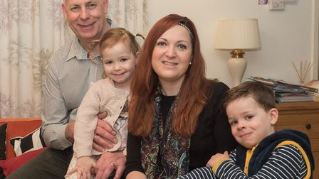 February: Friends rallied around Takeley family of Amanda Maisey-Young, (centre) with Brayden, Harri