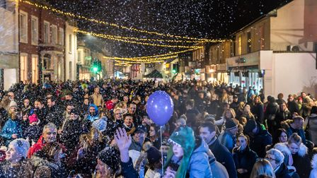 December: Crowds gathered as Santa prepared to turn on the Dunmow Christmas lights 2017. Picture: SA