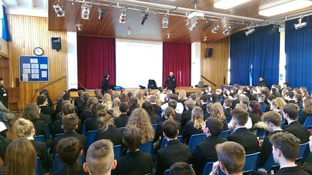 Two officers from the armed policing unit used a day's leave to speak to students at Witchford Colle