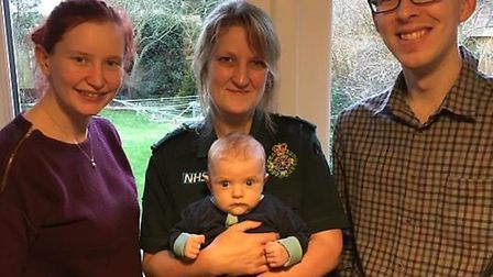 Chatteris couple Beccy and Mark White praise ambulance call handler Sue Lamonte who assisted with th