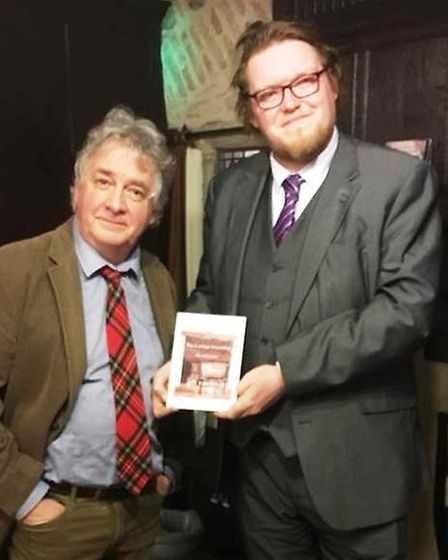 David Learner of Mr Simms Olde Sweet Shoppe pictured with Matthew Routledge at the talk at Oliver Cr