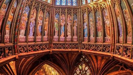 Panorama of Ely Cathedral 's Octagon at angel level looking to the centre space floor below.PHOTO: B