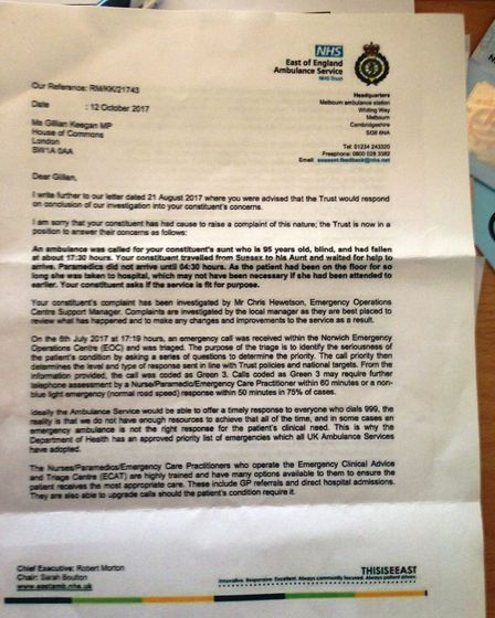 Letter from East Anglian Ambulance Service Trust EEAST about Joyce Saunders