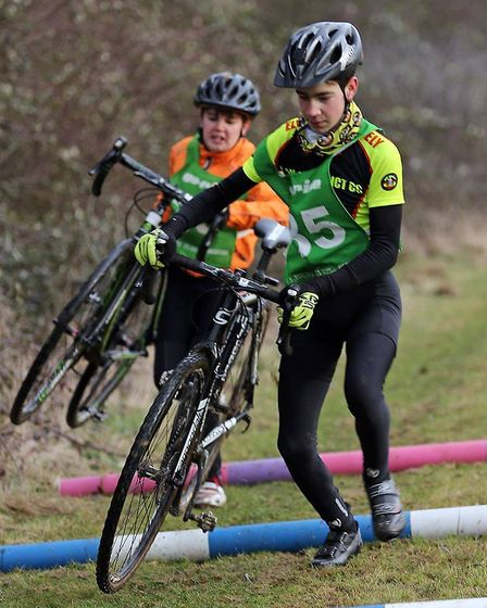 Luke Shepherd on his way to victory in the Under 14 category in the Muddy Monsters race