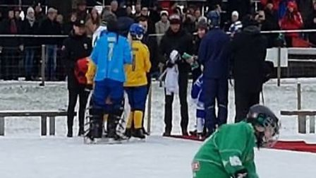 Prince William, the Duke of Cambridge, is presented with a bandy shirt in Stockholm, Sweden. PHOTO C