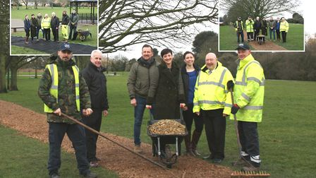 Pictured on the new bark footpath at West End Park are, from left, Garry Knight and James Aldridge f