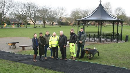 Checking out the new matted footpath on the March parkrun route are, from left, Emma Geary, Sports a