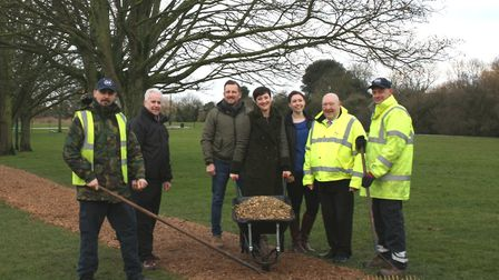 Pictured on the new bark footpath at West End Park are, from left, Garry Knight from ISS; Bob Ollier