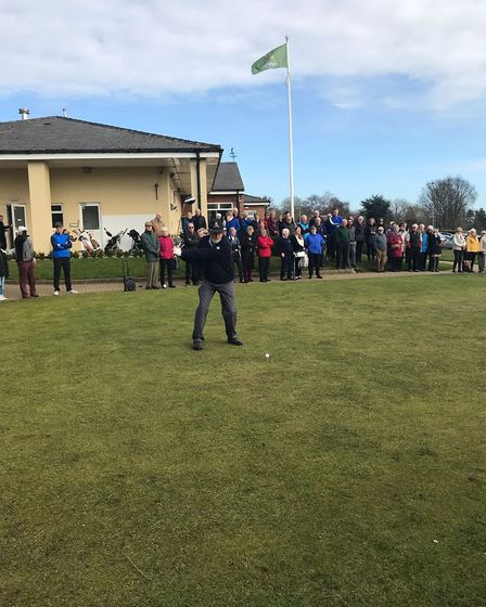 Greg Davidson driving in - Ely Golf Club captains raise over £7,000 for the Addenbrooke's stroke war