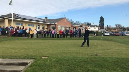 Marrion Hough driving in - Ely Golf Club captains raise over £7,000 for the Addenbrooke's stroke war