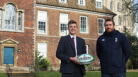 King's Ely rugby. Solomon Boon, left, with head of Rugby, Jim Thompson.