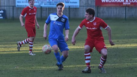 Wroxham's Shaun Taylor in action against Ely City. Picture: Sonya Duncan