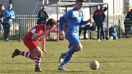 Craig Bussens takes on an Ely defender. Picture: Sonya Duncan