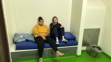 Two of the prisoners in the March Police station cell block sleepover to raise money for Amelia Mart